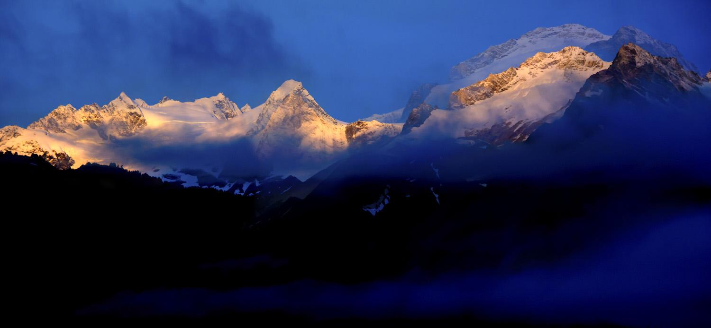 Haines Alaska, Chilkat Range, alpenglow, distortion