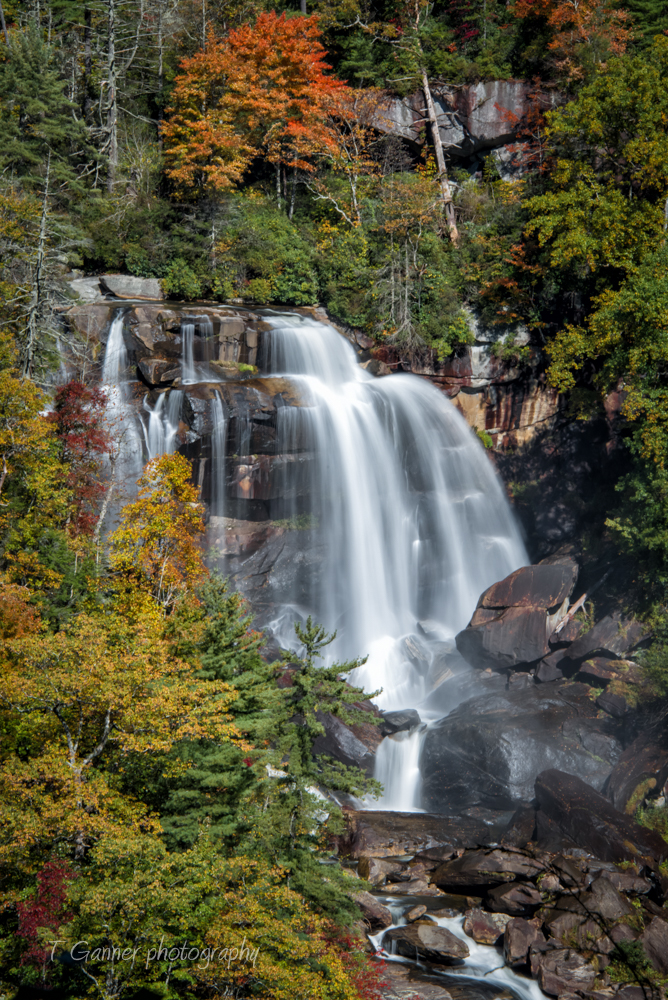North Carolina, waterfall, autumn, foliage, Whitewater Falls, North Carolina Autumn