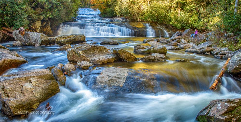 North Carolina, Brevard, Connestee Falls, autumn, foliage, waterfall, Gorges State Park, Stairway Falls, North Carolina Autumn